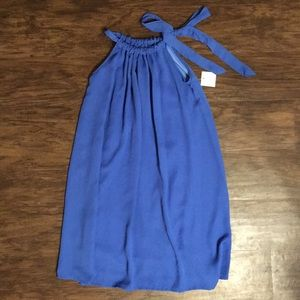 Royal blue high neck chiffon dress